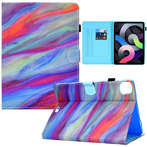 iPad Air 4th 10.9 2020 Case, RASUNE Multiple Viewing Angles Stand Card Slot Folio Case with Auto Sleep/Wake Feature Full-Body Protective Cover for New iPad Air 4th Gen 10.9 inch 20200 -Colorful Marble