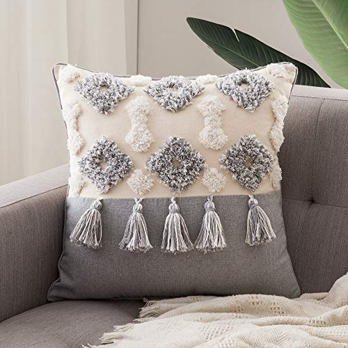 MIULEE Tasseled Cushion Covers Bohemian Indian Embroidered Decorative Square Throw Pillow Case Pillowcases for Couch Livingroom Sofa Bed with Invisible Zipper 18x18 inch 45x45cm