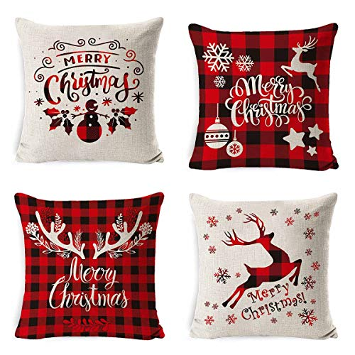 JiaYS Chritams Pillow Covers Set 4 Pcs Christmas Tree Decorative Cotton Linen Winter Deer Throw Pillowcase Zippered Square 18 x 18 Pillow Cover for Sofa Couch Bed and Car