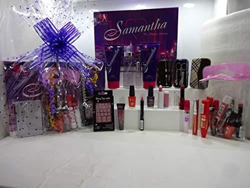Lot de 20 paniers cadeau pour femme - Samantha - 4 parfums + produits de maquillage - Assortiment de marques + ongles d'orteils + trousse de manucure + sac de maquillage, panier cadeau pour elle
