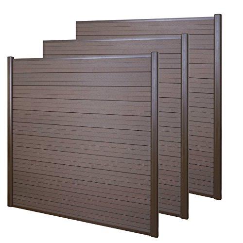 Mendler WPC-Sichtschutz Sarthe, Windschutz Zaun, Alu-Pfosten ~ 3er Set, 5,6m braun