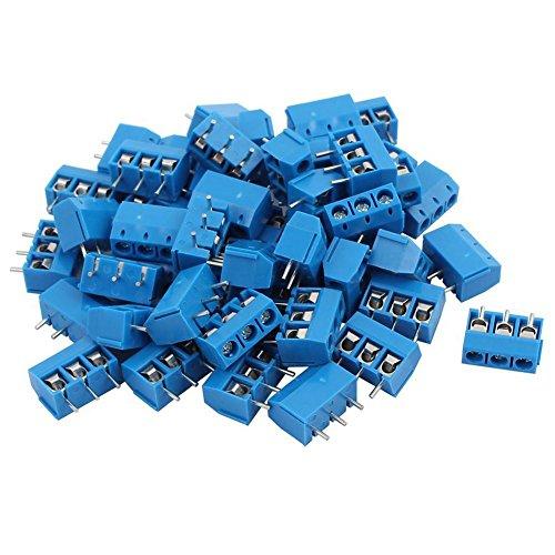 CUHAWUDBA KF301-3P 5,08 mm 3-Pin-Schraubklemme aus ABS, Blau, 50 Stück