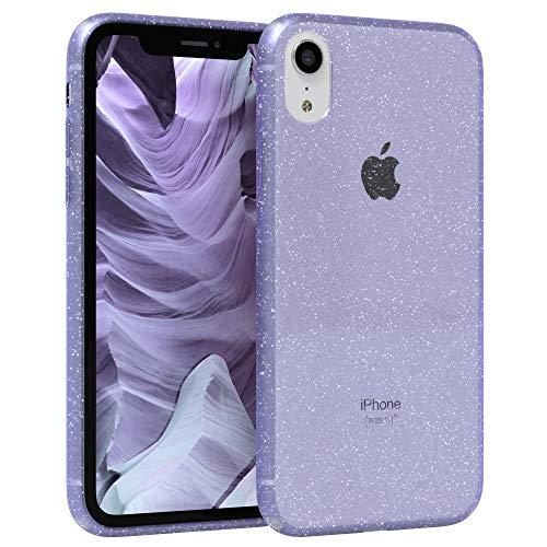 EAZY CASE Hülle kompatibel mit Apple iPhone XR Schutzhülle mit Glitzer, Handyhülle, Schutzhülle, Back Cover mit Glitter, TPU/Silikon, Transparent/Durchsichtig, Lila
