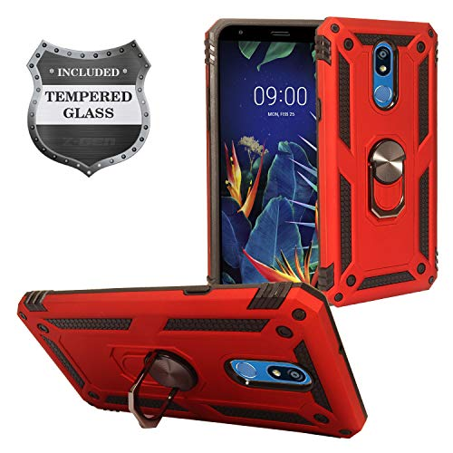 Z-GEN - for LG K40 LM-X420, LG Solo LTE L423DL - Hybrid Phone Case w/Ring Stand + Tempered Glass Screen Protector - RS3 Red