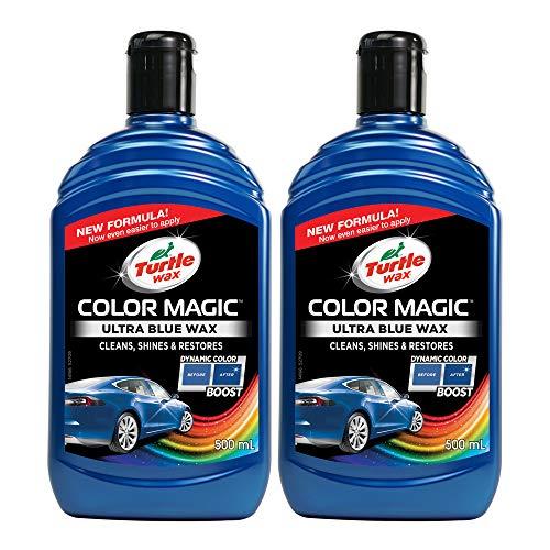 Turtle Wax 52709 Color Magic Autolack reinigt, glänzt und stellt Kratzer Wieder verblasst, 2 x 500 ml, Blau