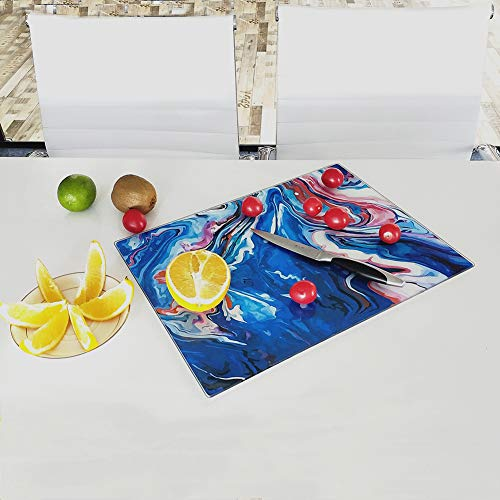 Glass Cutting Board 16 x 12 inch Set of 1,The Place Mat, Decorative Square Marble Cutting Board for Kitchen with Tempered Glass Navy Blue and Red