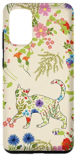 Galaxy S20+ Cat Wildflower Phone Case Floral Flower Pattern Case