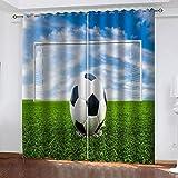SDSONIU Cortinas para Niños Campo de fútbol Verde 280 x 260 cm Poliéster Moderno Cortinas para Salón Dormitorio Infantil Habitación Cocina Hogar Decoración