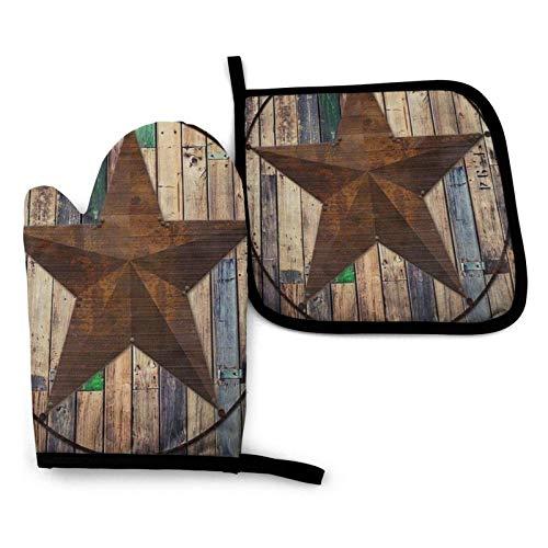 Western Texas Star en manoplas de horno de madera rústica marrón y...