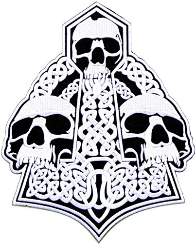 10.75' Skull Celtic Thor Hammer Motorcycles Biker Racer Back Patch Iron on Transfer Sew Embroidery Applique Clothes Leather Jean Jacket Polo T Shirt Vest Craft Costume Badge Sign Emblem Gift Custome