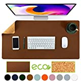 Aothia Eco-Friendly Natural Cork & Leather Double-Sided Office Desk Mat Mouse Pad Smooth Surface Soft Easy Clean Waterproof PU Leather Desk Protector for Office/Home Gaming (Brown,31.5' x 15.7')