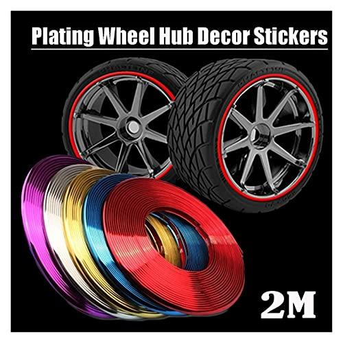 MMYX 2M / Roll Car Styling Rueda Llantas Protector Decoración Strip Molduras de Goma Rimblades Motocycle Vehículo Colorido Neum Tire Line (Color : Red)