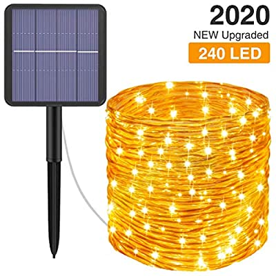 Kolpop Solar String Lights, 78.7FT 240 LED Solar Fairy Lights 8 Modes Solar Powered String Lights Outdoor IP65 Waterproof Rope Lights Outdoor for Garden Patio Camping Party Christmas Tree (Warm White)