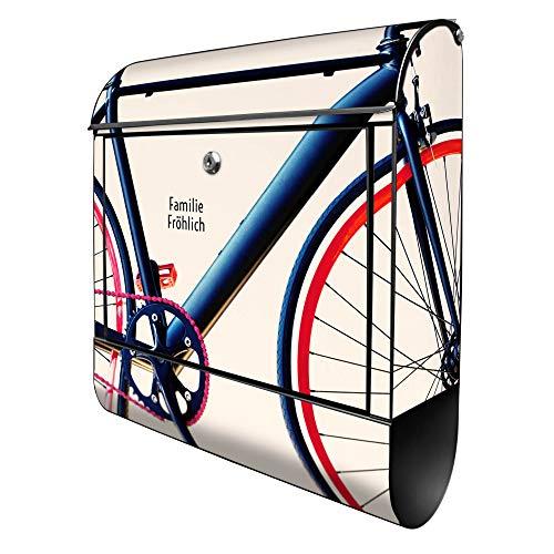Banjado Design Briefkasten personalisiert mit Motiv Rennrad | Stahl pulverbeschichtet mit Zeitungsrolle | Größe 39x47x14cm, 2 Schlüssel, A4 Einwurf, inkl. Montagematerial