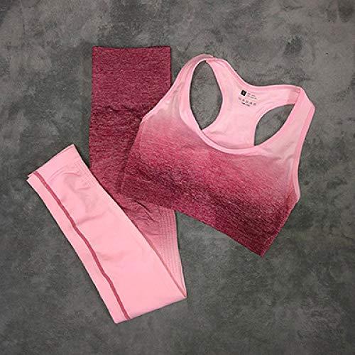 YHWW Ropa de Yoga,Women's Yoga Set Gym Clothing Ombre Seamless Leggings Sports Bra Workout Sports Suit Women Energy Fitness Sportswear Active Wear,Rose Red,M