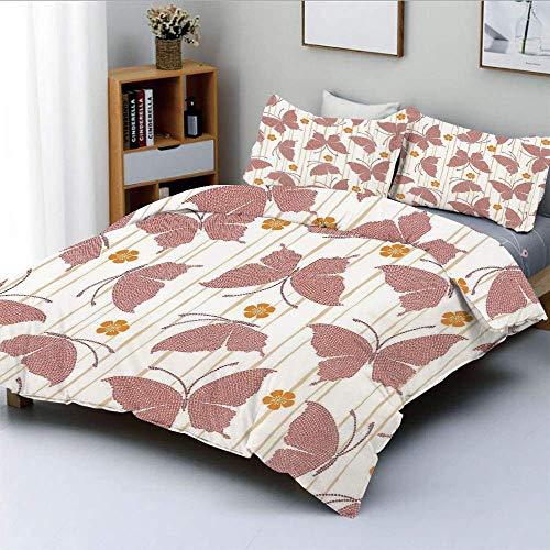 Set copripiumino, motivo di farfalle piccoli fiori con strisce artistiche a pois digitali Set di biancheria da letto decorativo 3 pezzi con 2 fodere per cuscini, crema arancia rossa, miglior regalo pe