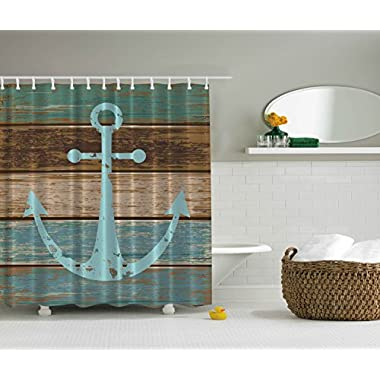 Ambesonne Nautical Anchor Rustic Wood - Shower Curtain - Water, Soap, and Mildew Resistant - Machine Washable - Shower Hooks are Included