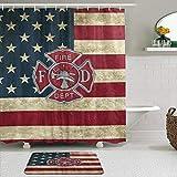 PbbrTK Stoff Duschvorhang & Matten Set,Feuerwehr Logo Feuerwehrmann,Wasserabweisende Badvorhänge mit 12 Haken,rutschfeste Teppiche