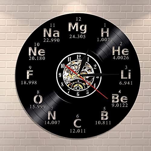 Elemento químico Reloj de Pared Símbolo químico Disco de Vinilo Reloj de Pared Tabla periódica Maestro de Arte Regalo Creativo Reloj de Pared Moderno
