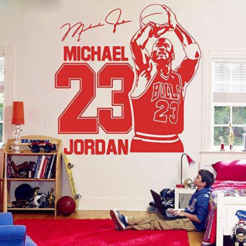 ASFGA Michael Jordan Wandtattoo Sport Basketball Heimdekoration 23 Bull Art Vinyl Wandtattoo Aufkleber Jungenzimmer Kinderzimmer Dekoration 80X82CM