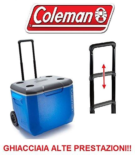 GHIACCIAIA con Ruote E Maniglia TELESCOPICA Marca Coleman Modello Performance 60 Wheeled Tenuta Termica Fino A 4 Giorni !!