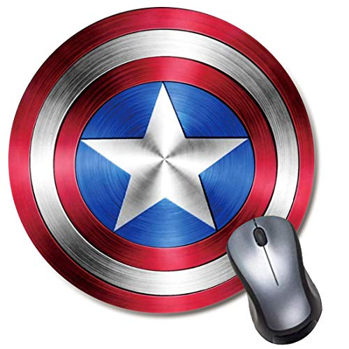 Round Gaming Mouse Pad, Computer Mousepad for Laptop and Desktop, Cute Funny Mouse Mat for Kid and Office Gift - Captain America