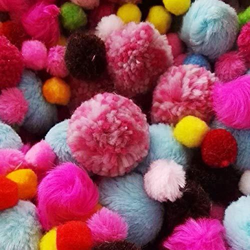 HL-PYL 100 pcs Mélange Aléatoire Coloré Pompons DIY Poupées Vêtement Matériel Fait Main Doux Moelleux Pom Poms Boule pour DIY Enfants Jouets Accessoires