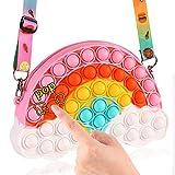Pop Purse Shoulder Bag Fidget Toys Crossbody Bag for Girls, Rainbow pop Fidget Bag Halloween TreatsBagsSuffers PartyFavors, Pop Sensory Handbag School Supplies Birthday Party Gifts