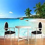 Papel tapiz fotográfico de paisaje de playa de palmera con...