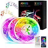 JEKKIS 50FT/15M RGB LED Strip Lights, 450 5050 SMD Color Changing LEDs, Music Sync Bluetooth Controller + 44 Key Remote LED Lights for Bedroom Room Home Party (3x16.4FT)