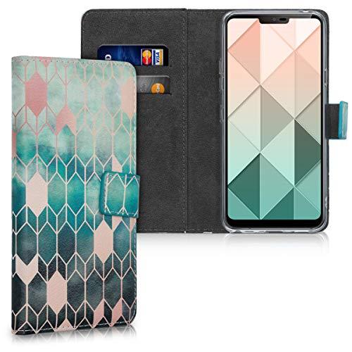 kwmobile Wallet Hülle kompatibel mit LG G7 ThinQ/Fit/One - Hülle Kunstleder mit Kartenfächern Stand Glory Blau Rosegold