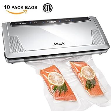 Aicok Vacuum Sealer Machine Automatic Vacuum Air Sealing System, Food Sealer Vacuum ( Pulse Vacuum ) Function for Dry or Moist food and Sous Vide, 10 Bags