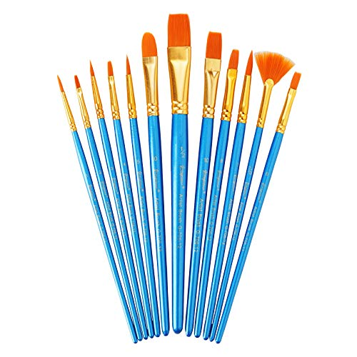 Artist Paint Brush Set of 12, Artist Paintbrushes Paint Brushes for Acrylic Oil Watercolor, Face Nail Art, Canvas Body Rock Painting Kit