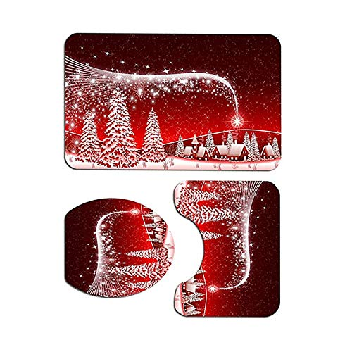 すべり止めラグのトイレのふたカバーとバスマットトイレシートカバーラグとのクリスマスのバスルームの装飾セットクリスマスのための適切な赤いクリスマスツリーのバスルームの装飾を設定します(赤)