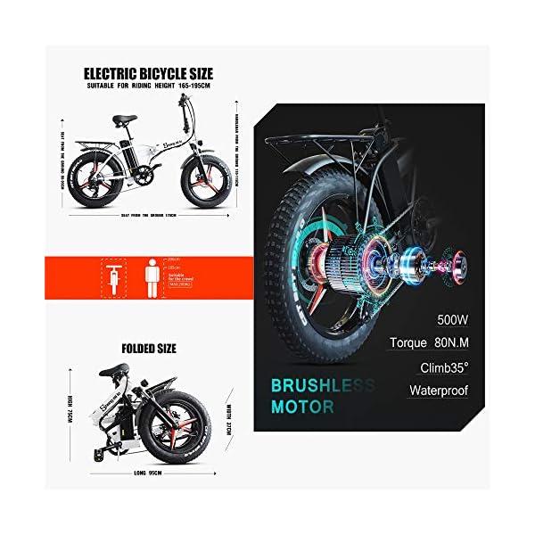 515uWmJ3WOL. SS600  - Skyzzie Klapprad 20 Zoll Faltrad E-Bike Pedelec Elektrofaltrad Klappfahrrad F04, 7 Gang-Schaltung, LCD-Instrument, 48V 15AH,Weiß/Schwarz
