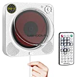 Portable CD Player with Bluetooth, MONODEAL Rechargeable CD Player with Speaker, Wall CD Player with Remote Control and Dust Cover, Also Support Playing DVD, VCD Discs