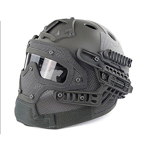 Wpond Tactical Helm G4 System Overall Schutz Gesichtsmaske und Schutzbrillen, Multifunktions Airsoft Helme für Militär Paintball WarGame Grey