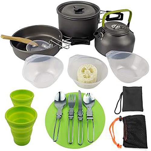 YiFAN Outdoor Camping kookgerei kit voor 2-3 personen, traagbaar lichte personen outdoor theepot set pot met bestek lepel servies water mok snijplank voor trekking wandelpicknick
