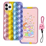 MME Fidgets Toy Case for iPhone 4 / 4S - Cute Push Pop Bubble Sensory Fidget Toy 3D Cartoon Soft Silicone Stress Reliever Toy for Women Girls Teens Kids (Multicolor, 4)
