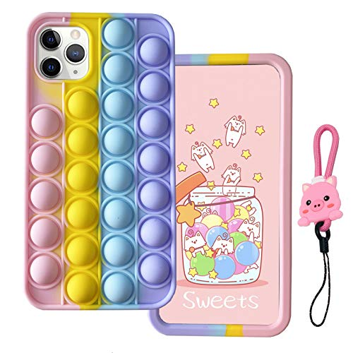 MME Fidgets Toy Case for iPhone 5 / 5S / SE 2016 - Cute Push Pop Bubble Sensory Fidget Toy 3D Cartoon Soft Silicone Stress Reliever Toy for Women Girls Teens Kids (Multicolor, 5)