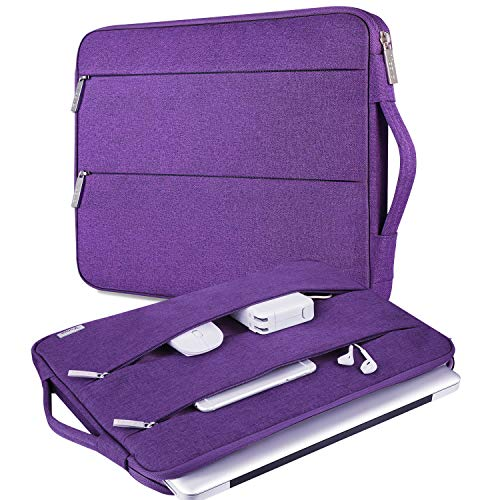 """V Voova 11 11.6 12 Inch Laptop Sleeve Case with Pockets,Slim Computer Cover Bag Compatible with MacBook Air 11"""" 12"""",Surface Pro 7 6,Samsung Chromebook 3 4,Surface Laptop Go 12.4 for Women Lady,Purple"""