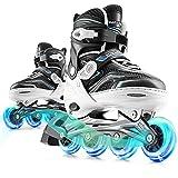 Marcent Inline Skates for Kids, Adjustable Women Roller Blades Girls and Boys, Light up Roller Skates for Adult Teen Beginners, L White