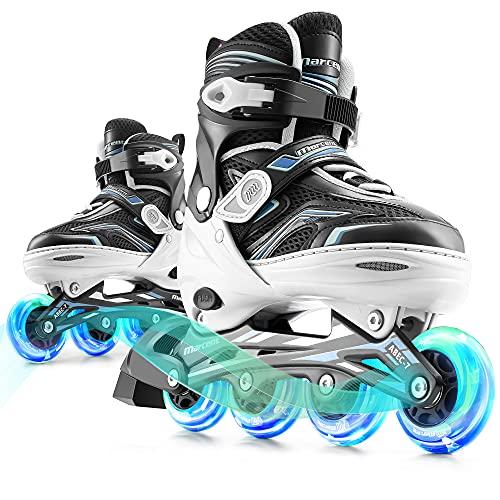 Marcent Inline Skates for Kids, Adjustable Women Roller Blades Girls and Boys, Light up Roller Skates for Adult Teen Beginners, M White