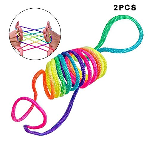 dianhai306 Juego de Habilidad del Juego del Dedo Cuerda Arcoiris Cuerda de Juegos y Juguete de Habilidad de Dedos Juguetes de Habilidad de Dedos Cuerda de Arco Iris