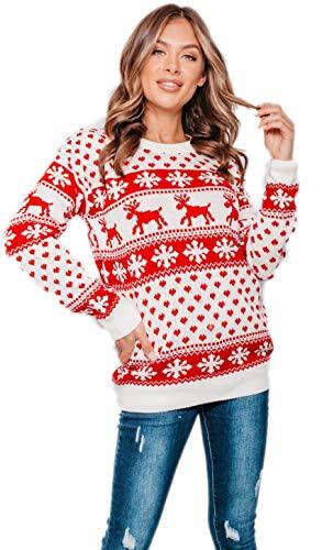 Ny jultröja, unisex, dam, herr, barn, juljumper, ren, snöflingor, stickad lång jultröja, topp