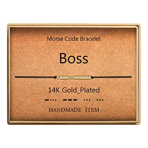 Boss Morse Code Bracelet 14k Gold Plated Beads on Silk Cord Gift for Boss