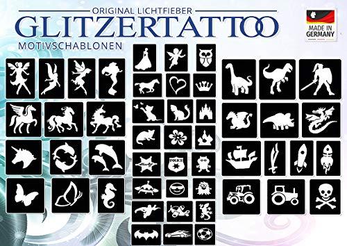 Glitzertattoos Glitzer Tattoo Schablonen 50 Motive für Mädchen & Jungs / Kinder / Schablonen