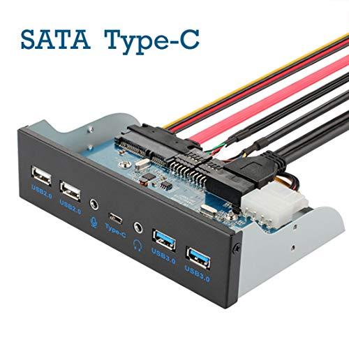 Hima Pannello Frontale USB 3.0, unità Ottica, Scheda di espansione da 5,25 Pollici, 7 Porte Che supportano Type-C, USB 3.0, USB 2.0, Porte per Microfono supportano Il Disco Rigido SATA DIY