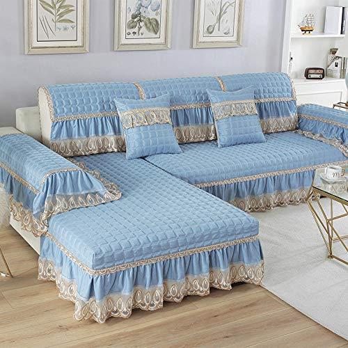 B/H Fundas de sofá de Esquina,Cojín de Lino sofá, Funda de sofá Antideslizante de Tela-Blue_70 + 20 * 90cm,3 Plaza Funda de Sofá Elástico Cubierta