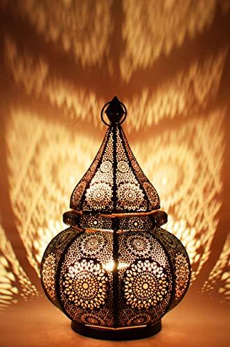 Orientalische Marokkanische Tischlampe Lampe Leuchte Tischleuchte Laterne Nachttischlampe Malha - Schwarz